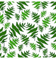 green fern leaf seamless wild forest pattern white vector image vector image