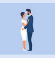 groom in suit and bride in tight wedding dress vector image
