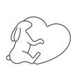 happy bunny hugging a heart in line style logo vector image vector image