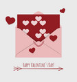 happy valentines day card with envelope and vector image