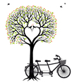 heart tree with birds and bicycle vector image vector image
