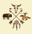 indian or native american horseback arrows and vector image vector image