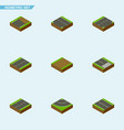 isometric road set of driveway cracks down and vector image vector image