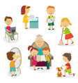 kids children doing home activities chores vector image vector image