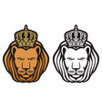 lion head with royal crown - king vector image