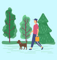man carrying bag walking don on leash vector image vector image