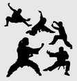 martial art and kungfu sport silhouette vector image vector image