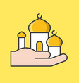 masjid in hand ramadan filled outline icon set vector image vector image