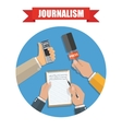 Mass media and press conference journalism icon vector image