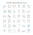 mono line icon bundle 36 items vector image