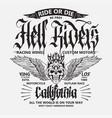 motorcycle biker sport t-shirt emblem vector image vector image