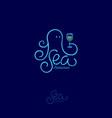 octopus logo sea food restaurant wineglass vector image vector image