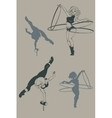 Pinup circus artist silhouette inkpen vector image