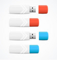 realistic 3d detailed usb flash drive set vector image vector image