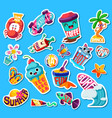 set funny bright summer stickers and emblems vector image