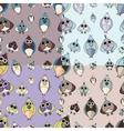 Set of cute owl seamless patterns vector image