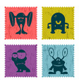 set of retro postage stamp with funny monsters vector image vector image