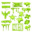 set radioactive green slime or toxic blob vector image