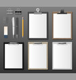 set realistic clipboards with blank white paper vector image