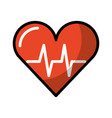 shadow heart beat pulse vector image vector image