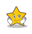 smirking star character cartoon style vector image vector image