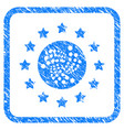 starred iota coin framed stamp vector image vector image