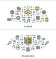 Thin Line Cloud and Planning Concepts for Website vector image vector image