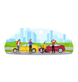 two men and women are having car accident vector image