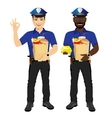 two policemen holding paper bags full of fast food vector image vector image