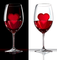 Wine glass with red and heart inside vector image vector image