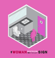 woman toilet sign in restroom isometric vector image