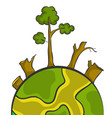World with tree fire bad environment vector image