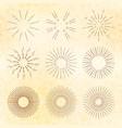 set of retro hand-drawn starburst and sunrays vector image