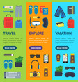 cartoon vacation and travel banner vecrtical set vector image