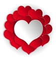 Paper red hearts background vector image