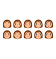 set of cute girl faces for you design flat and vector image