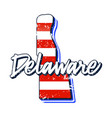 american flag in delaware state map grunge style vector image vector image