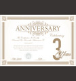 anniversary retro vintage background 3 years vector image vector image