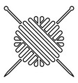 ball of wool yarn and knitting needles icon black vector image vector image