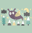 banner with a fantasy owl flying at night vector image