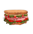 big sandwich withham and cheese vector image