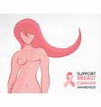 breast cancer awareness survivor woman concept vector image vector image