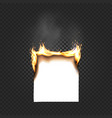 burning paper sheet a4 edges close up isolated on vector image vector image