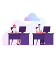 businessman and businesswoman sitting at desks vector image vector image