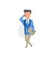 businessman talking on mobile phone cartoon vector image