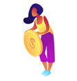 businesswoman holding a big dollar coin isometric vector image vector image
