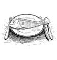 cartoon drawing of fish food on dinner plate vector image