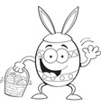 Cartoon Easter egg wearing rabbit ears vector image