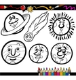 Cartoon Planets and Orbs coloring page vector image vector image