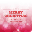 christmas greetings card design with pink vector image vector image